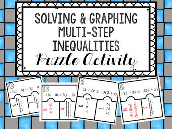 Solving Graphing Multi Step Inequalities Puzzle Algebra 1 Unit
