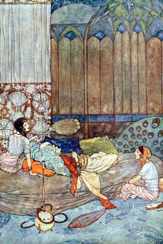 Stories from the Arabian nights' retold by Laurence Housman; with drawings by Edmund Dulac. Published 1911 by Hodder and Stoughton