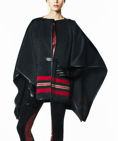 Love this Black & Red Wool-Mohair Blend Poncho on #zulily! #zulilyfinds