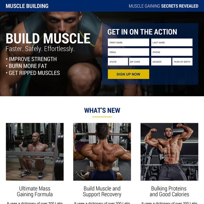 Muscle Building Supplement Package Landing Page Design Best