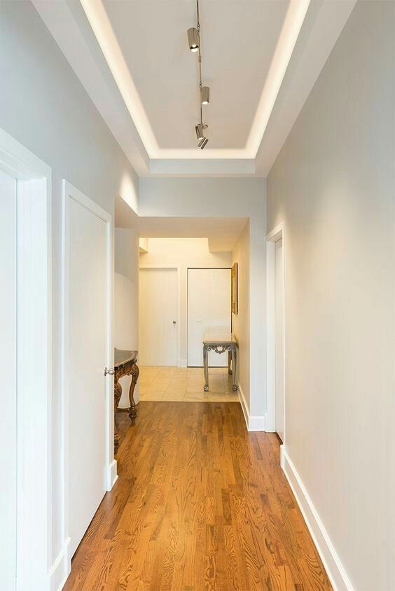 Beautiful Hallway Cove With Led Lights Up And Modern