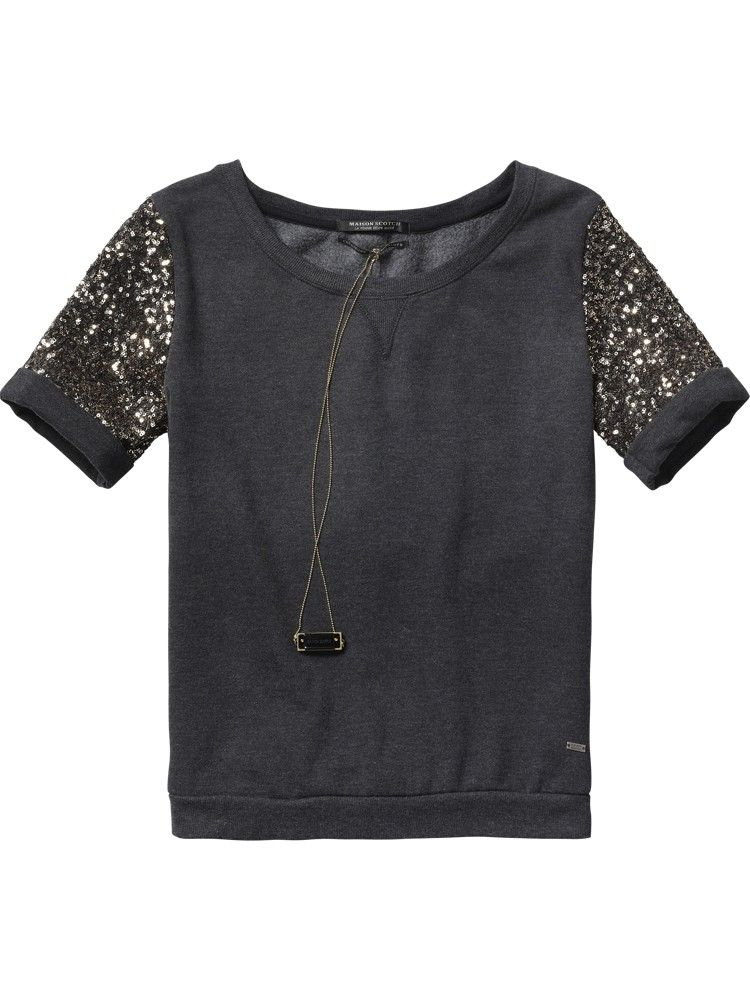 93430677468b Short-sleeved sweater with sequin sleeves - Sweats - Scotch   Soda Online  Shop