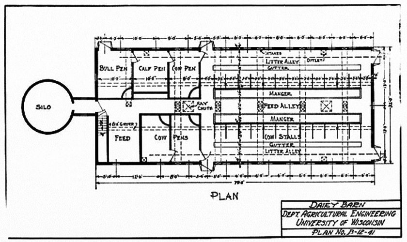 Dairy barn floor plan from the department of agriculture for Dairy barn plans