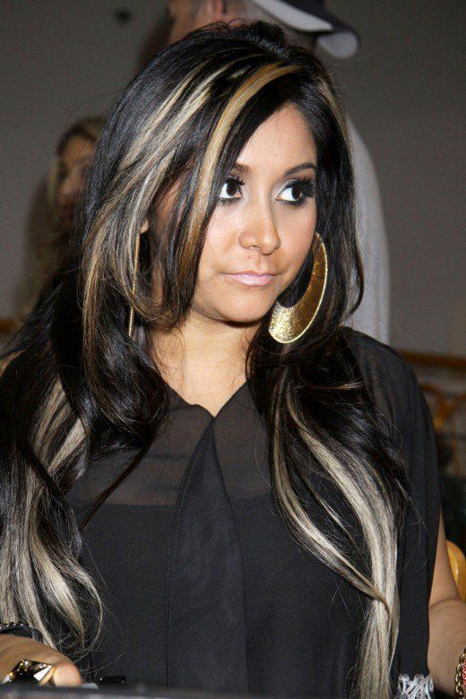 Black hair with blonde highlights blonde chunks hair pictures black hair with blonde highlights pmusecretfo Choice Image