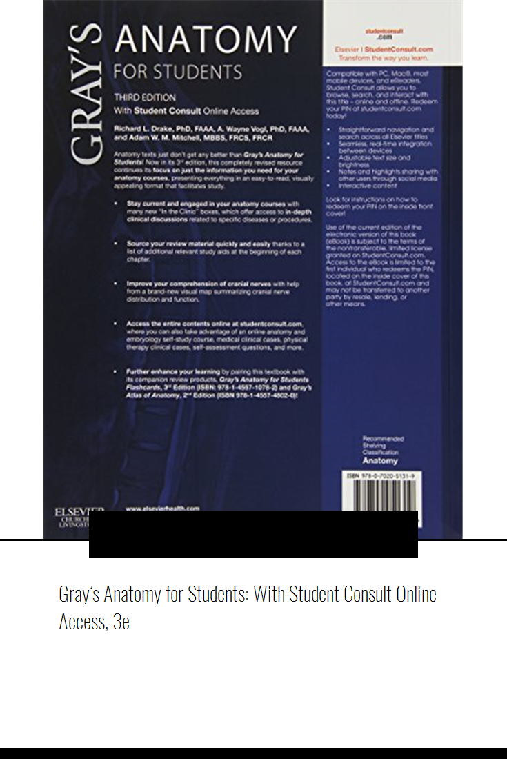 Grays Anatomy For Students With Student Consult Online Access 3e