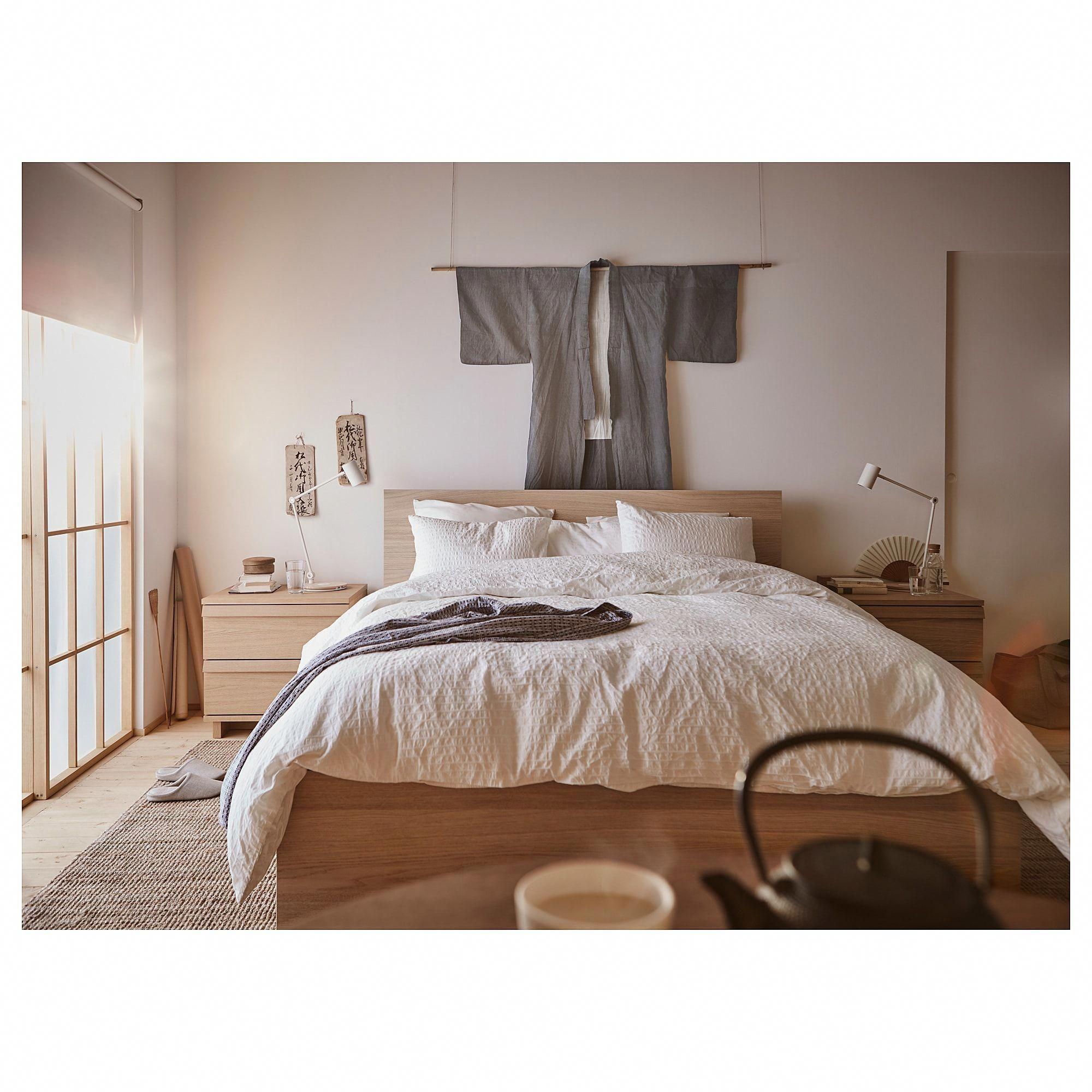 Malm Bed Frame High White Stained Oak Veneer Lonset Full