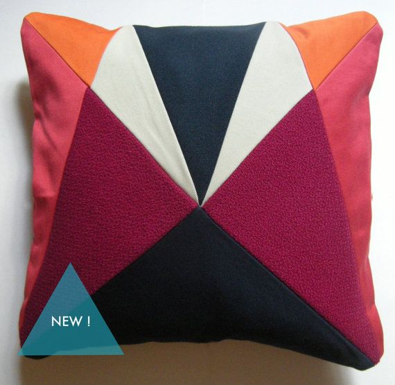 Red Orange and Navy AU 'After Upholstery' cushion