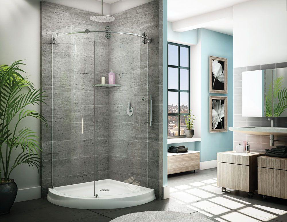 Barn Door Style Exposed Roller Sliding Curved Shower