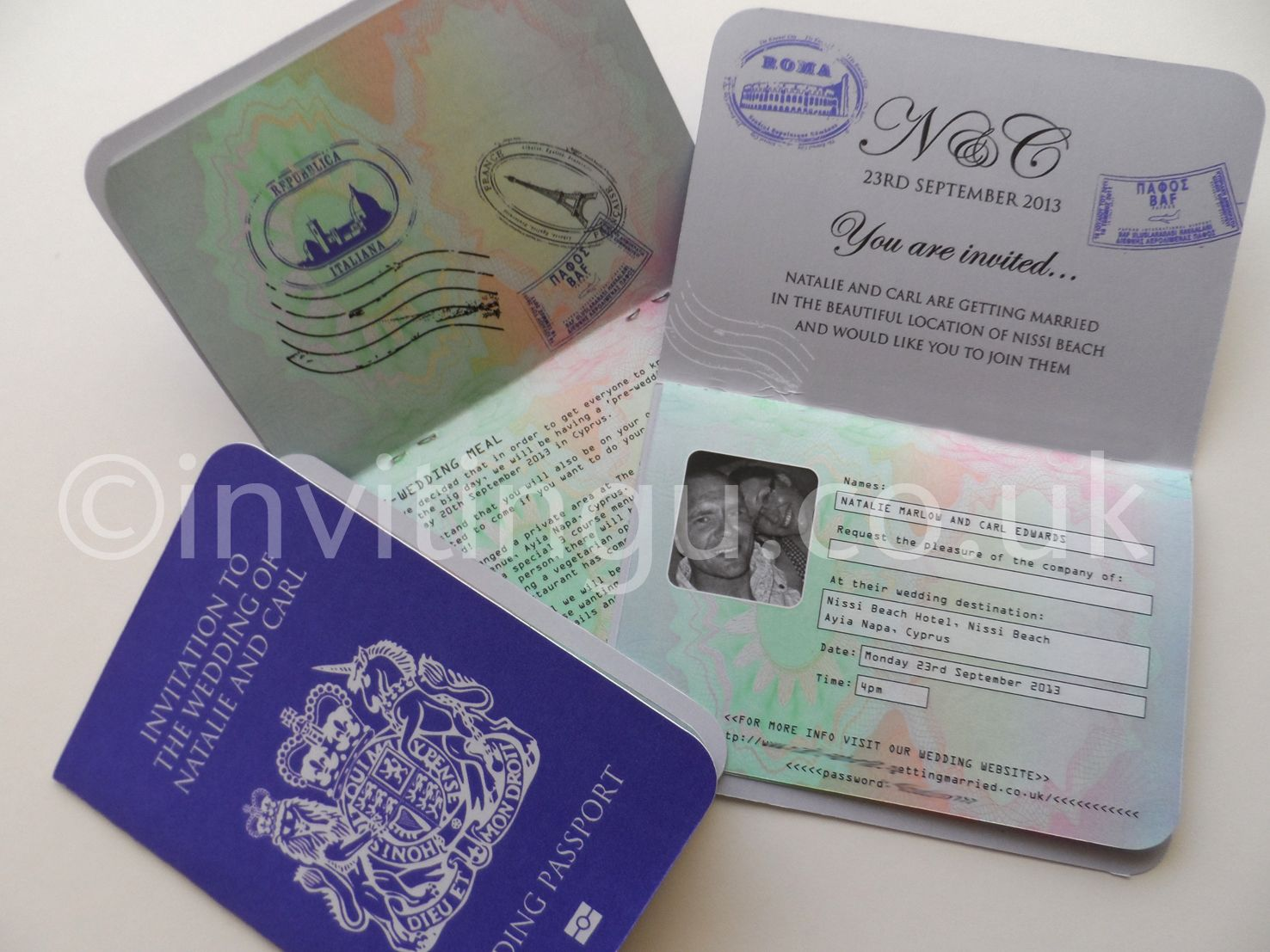 wedding stationery packages uk%0A Passport wedding invites  with info page