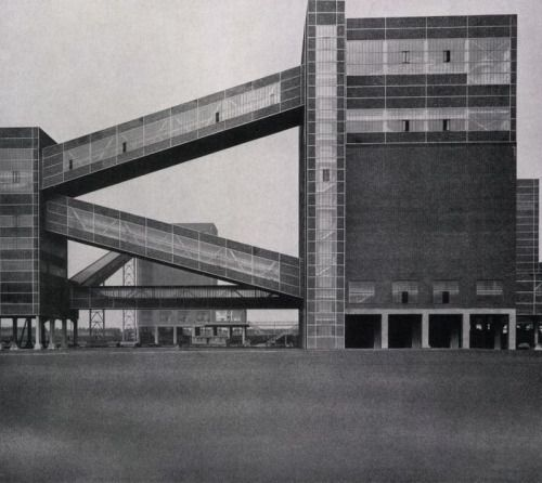 Processing Plant (ca. 1954) of the Germania Mine in Dortmund, Germany, by Fritz Schupp