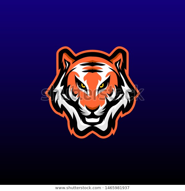 Tiger Mascot Logo Design Vector Modern Stock Vector Royalty Free 1465981937 Template Gambar Pencetakan