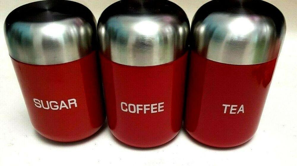 Tea Coffee Sugar Jars Canisters Hot Red Matt Silver Metal