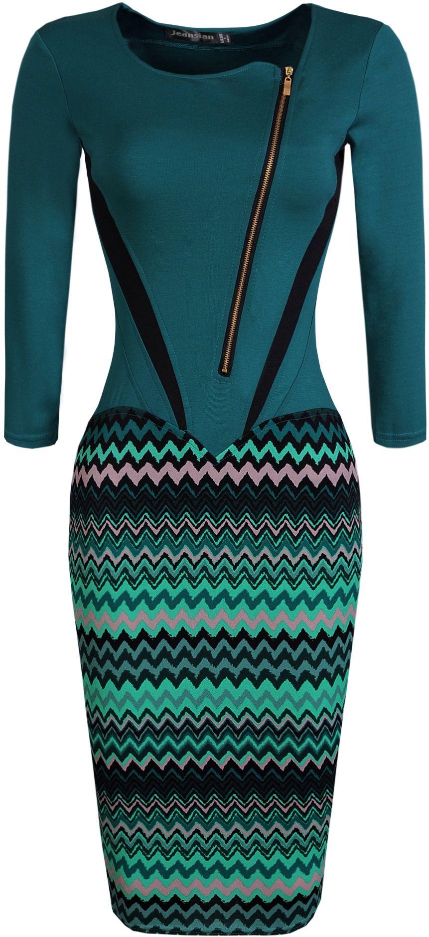 jeansian Women\'s Office Lady Slim Zipper Evening Gowns Pencil ...