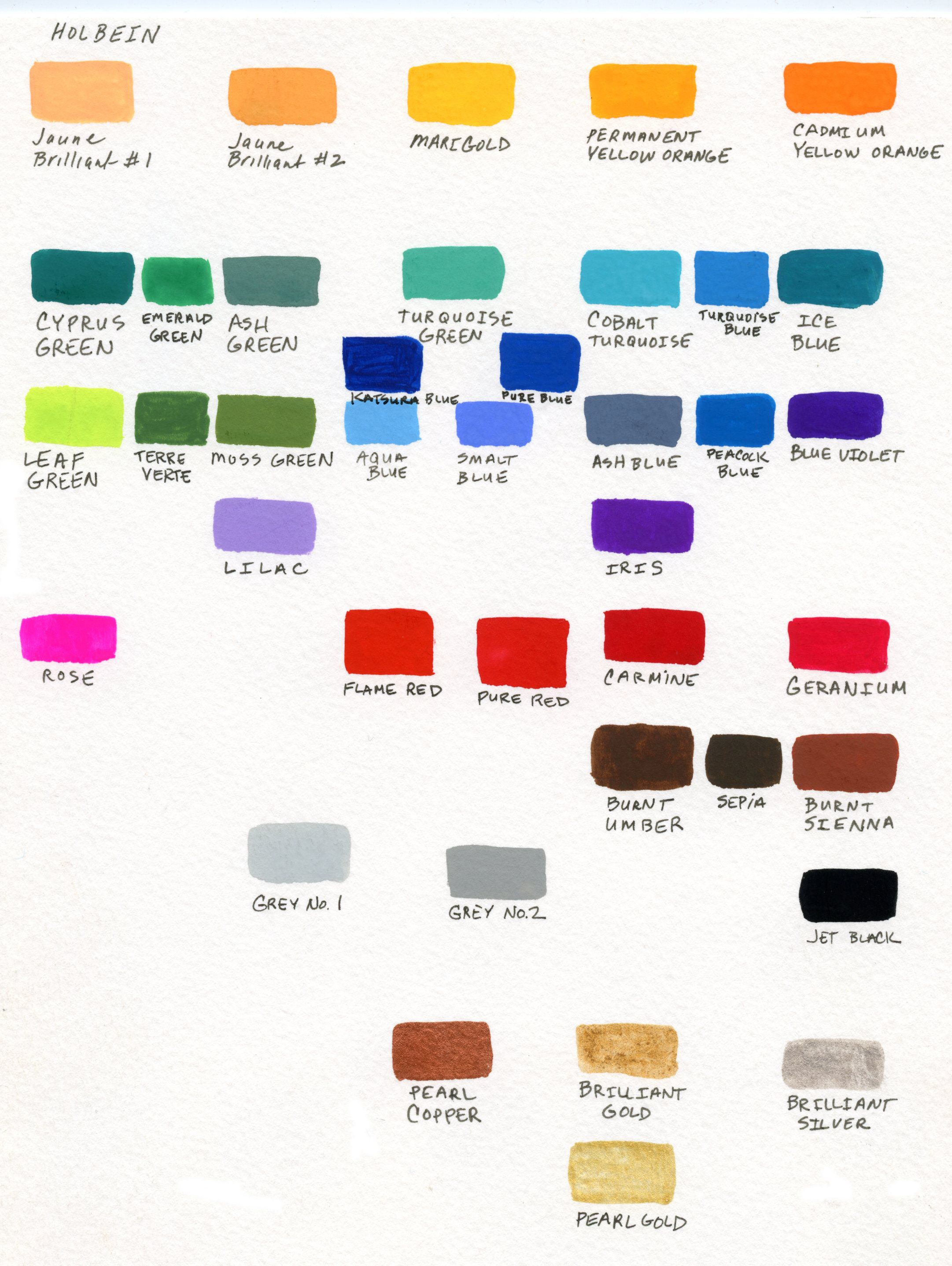Holbein Gouache Color Chart Painted As A Beginner To Gouache As A