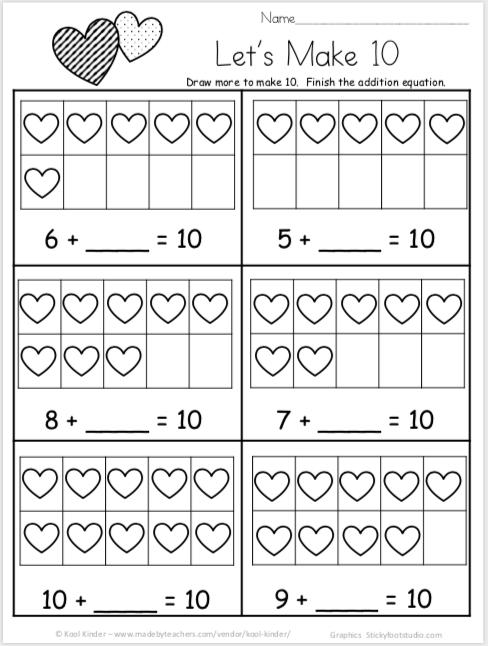 Free Valentine's Day Math Worksheets for Kindergarten Addition -   18 holiday crafts kindergarten ideas