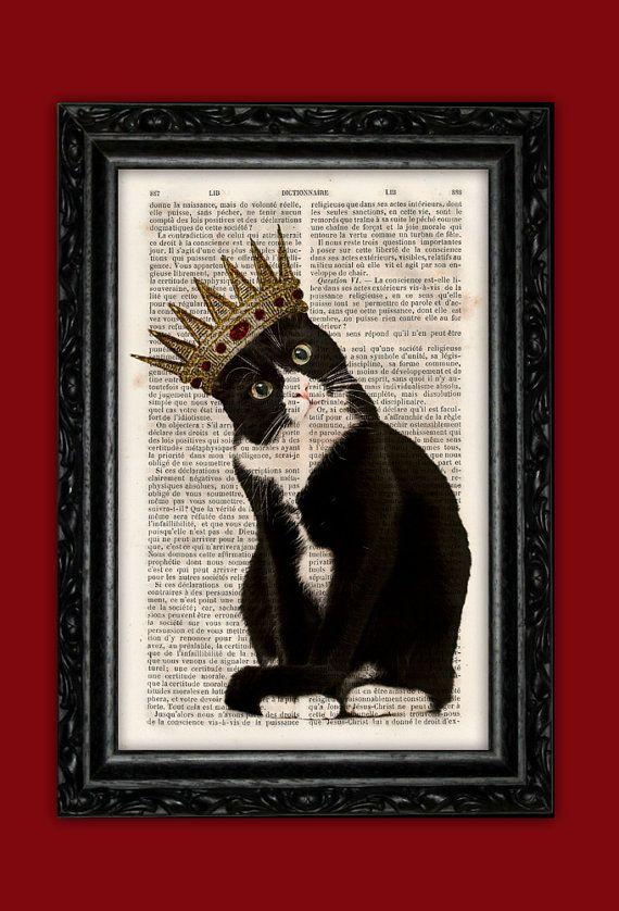 King Cat Art Print  Kitty Crown Poster Book by ThePurpleHamster, €7.00