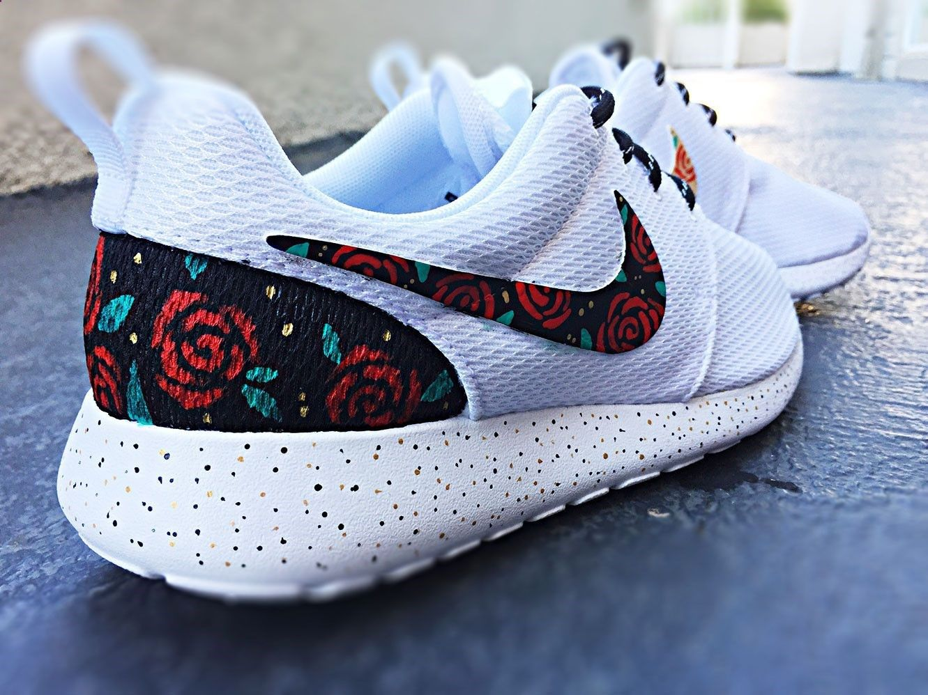 Custom Nike Roshe Run Rose design, floral custom roshe, Rose Gold design,  Red