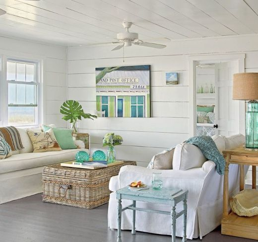 25 Small Cozy Beach Cottage Style Living Room Interior Design