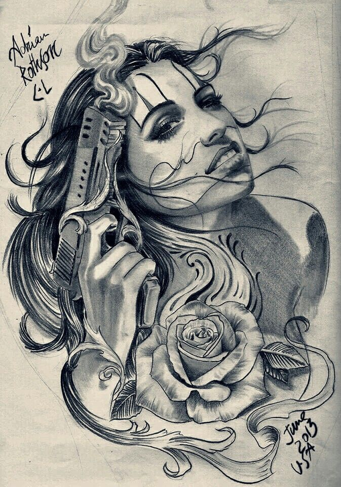Gangster Girl Chicano Art Lowrider Tattoo Chicano Drawings