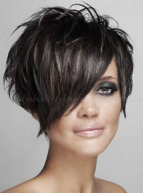 Short Haircut With Long Bangs Kapsels Kapsel Kort Lang Kort Haar Kapsels