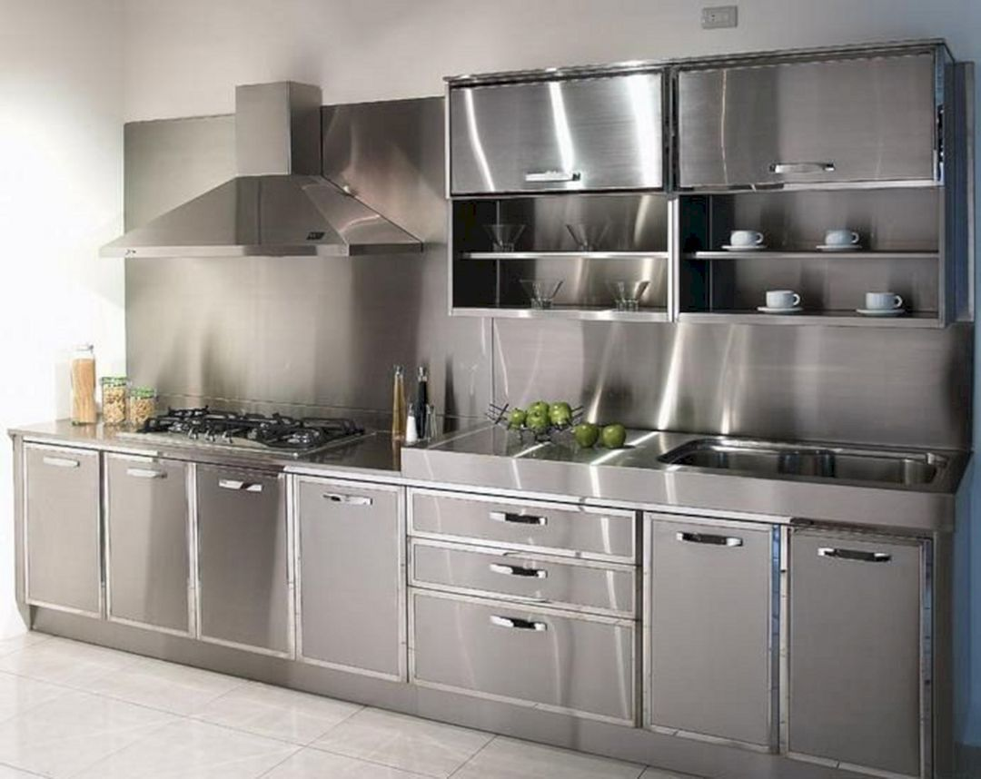 Super Modern Stainless Steel Kitchen Cabinet Design For Cozy Kitchen Ideas 50 Aluminum Kitchen Cabinets Steel Kitchen Cabinets Stainless Steel Kitchen Cabinets