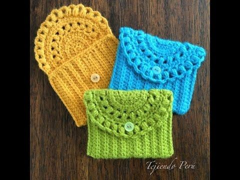 Hermosos monedero tejidos a crochet - YouTube Ganchillo yaya