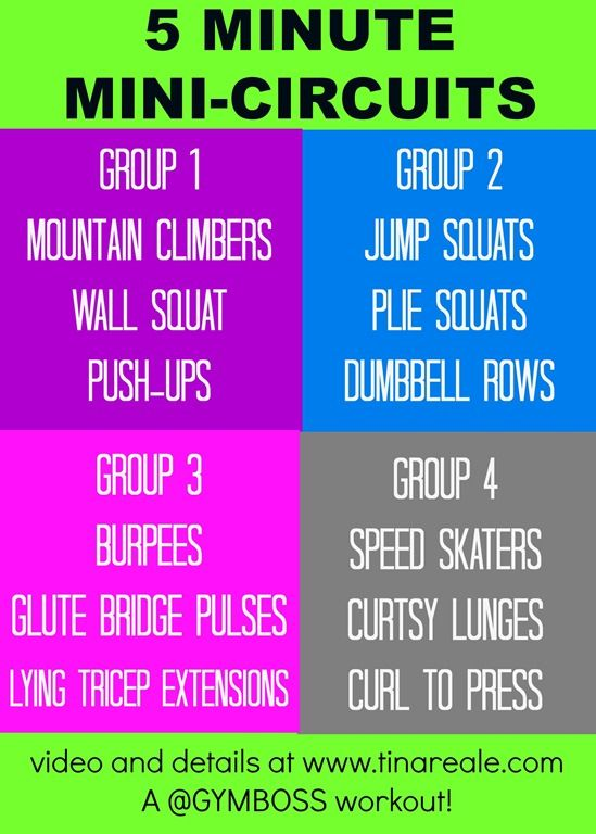 5 minute mini circuits workout  30 seconds cardio  60