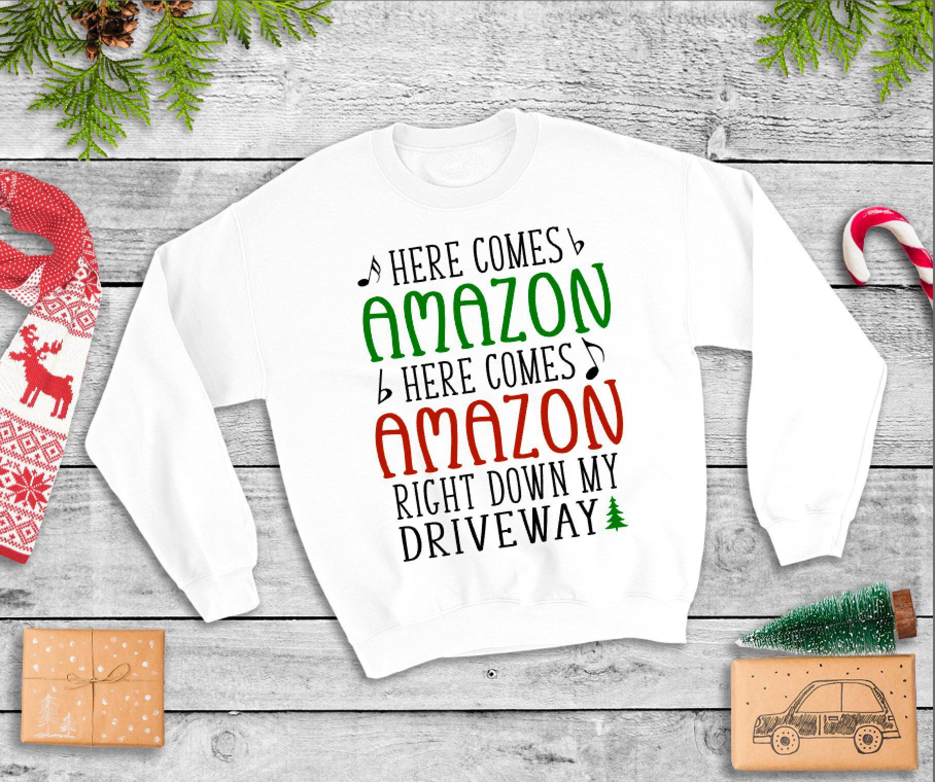 683464f27 Excited to share this item from my #etsy shop: Here Comes Amazon Right Down  My Driveway Funny Christmas Sweater- Christmas/ Holiday Sweaters- Amazon-  Funny ...