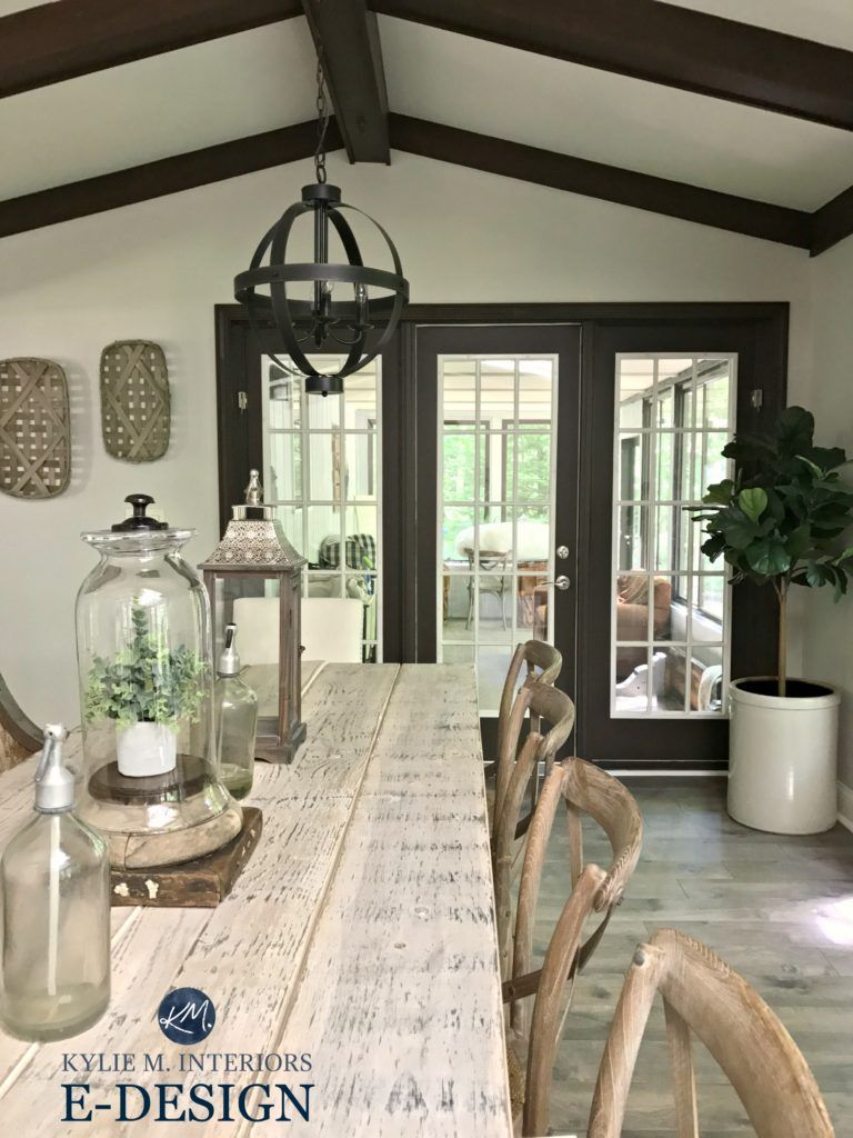 Sherwin williams agreeable gray paint colour via kylie m e design farmhouse style dining room with wood table dark wood trim