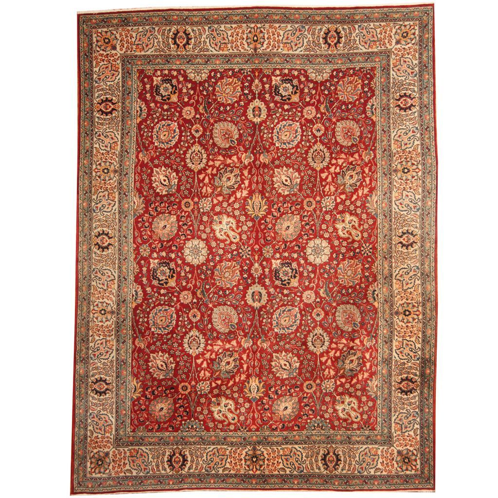 Herat Oriental Persian Hand Knotted 1960s Semi Antique Tabriz Red Rug