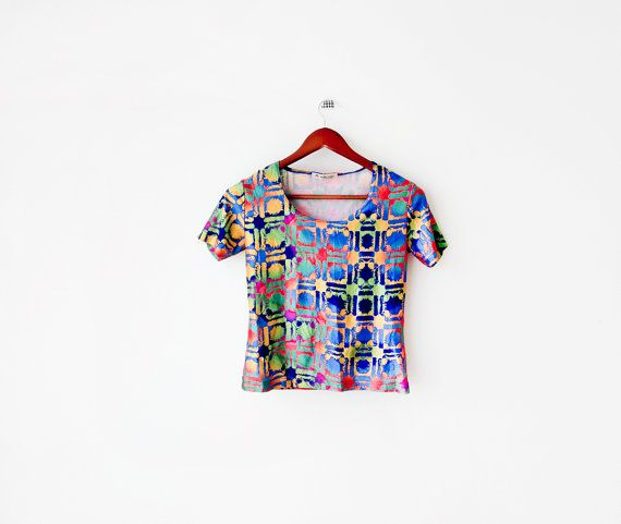 Real Disco 1980's Multicolored Sequins cropped TOP by SpaceMauve, $31.50