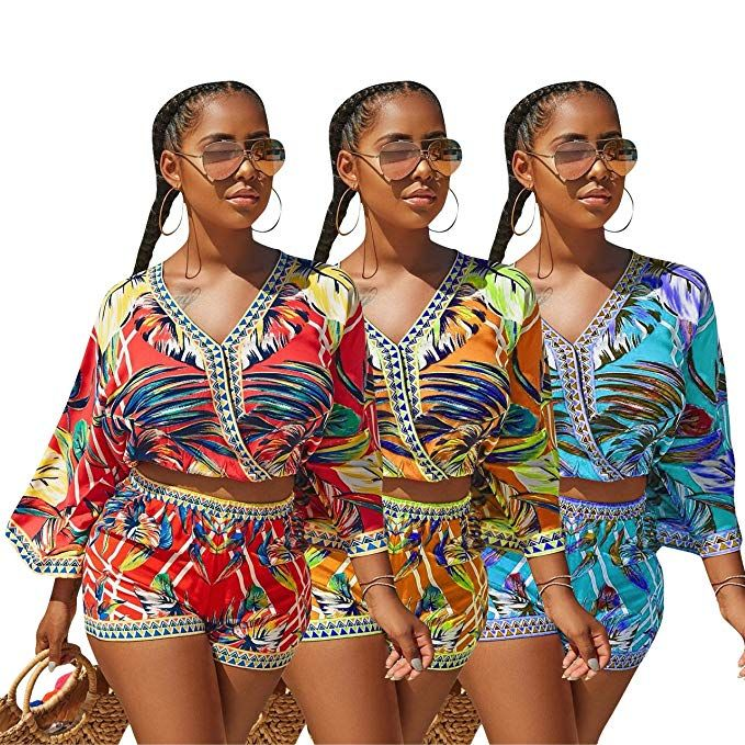80a5522d828 Mintsnow Women Summer Romper Boho Playsuit African Print Jumpsuits Beach 2  Piece Outfits