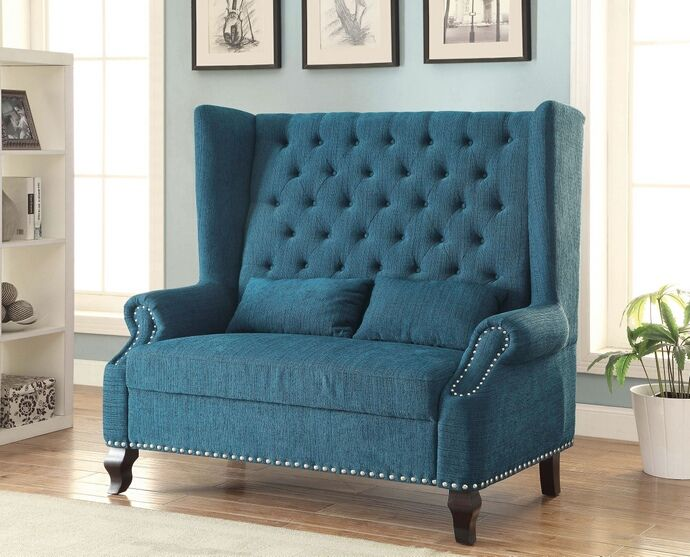 Cm Bn6223tl Alcacer Teal Fabric Mid Century Style Cabriole