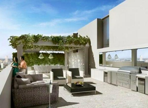 dachterrasse gestalten ideen outdoor kche wohnbereich essbereich pergola kletterpflanzen - Ideen Wohnbereich