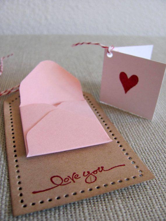 kraft mini envelope note card valentine gift tags muttertagskarten etiquetas und artesanato. Black Bedroom Furniture Sets. Home Design Ideas