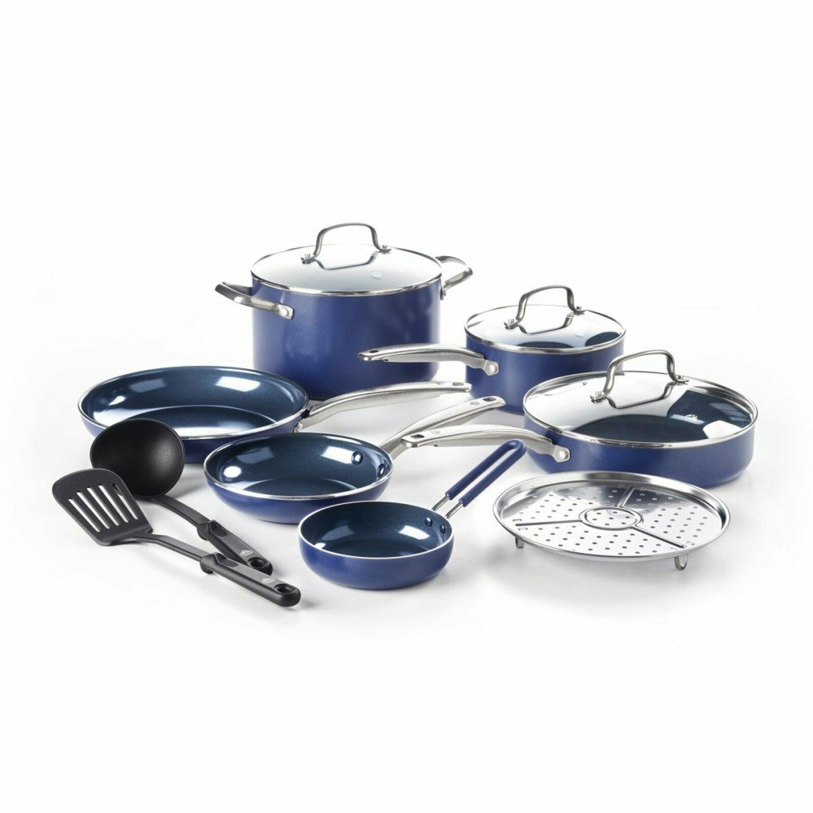 Details About Blue Diamond 12 Pc Cookware Set Toxin Free Ceramic