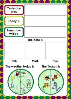 Days Of The Week And Weather Chart Learning English For Kids Classroom Charts Kindergarten Learning