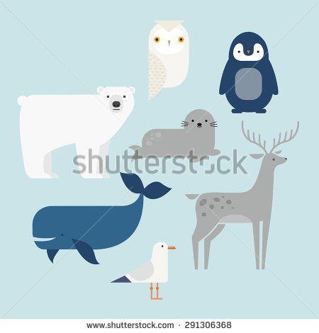 Vector set Arctic and Antarctic animals. Penguin, polar bear, seal, reindeer, whale, snowy owl, albatross. Set of polar animals. Flat style character. Vector illustration - stock vector