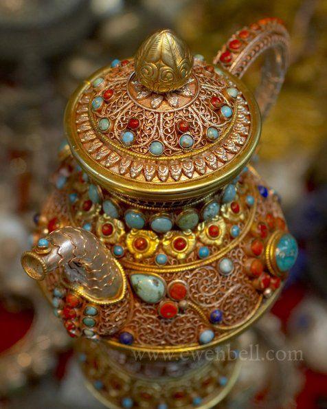 Jeweled Tibetan Teapot by Ewen Bell