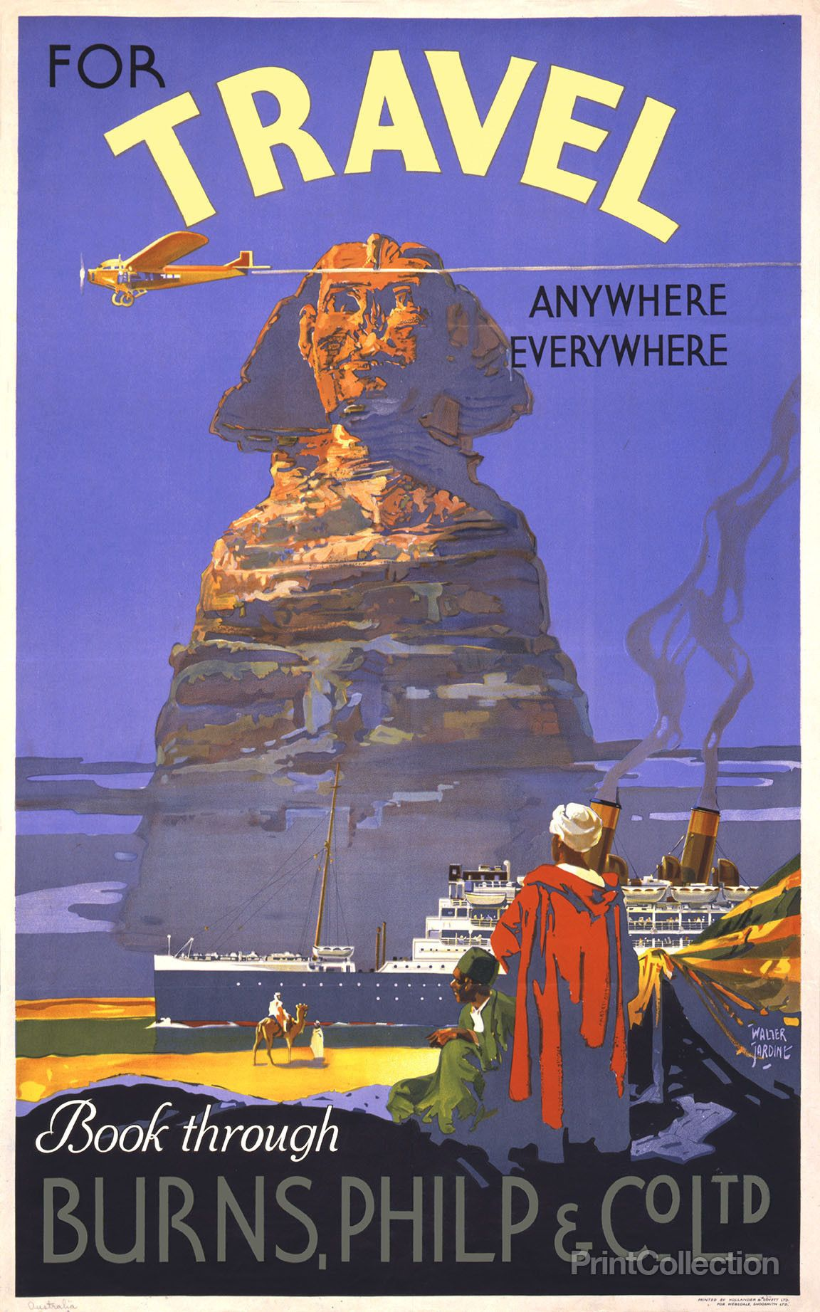 16x24 1940s Egyptian Pyramid Ruins Vintage Style Travel Poster