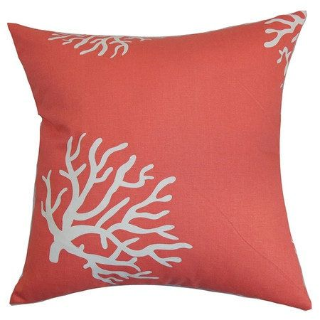 Decorative coral print pillow cover, 16 by 16, 18 by 18 or 20 by 20, envelope style back, 100% cotton. Pattern placement may vary.    Pillow insert