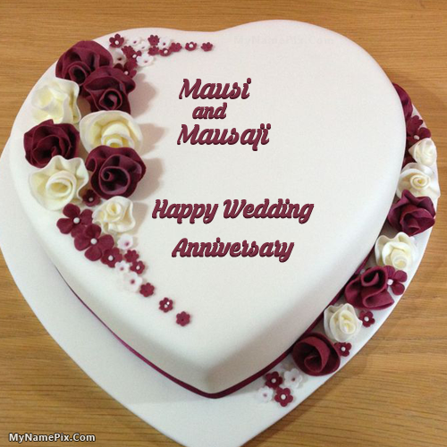 The Name Mausi Is Generated On Heart Wedding Anniversary Cake With