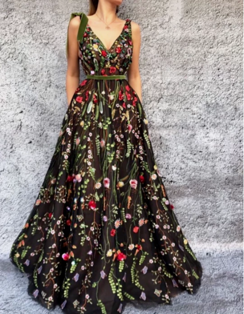 Formal Vneck Long Embroidered Black And Green Prom Dresses - V neck prom dresses, Cheap prom dresses long, Green prom dress, A line prom dresses, Lace evening dresses, Evening dresses - inch (end of arm) 4, Delivery time within1520days, this cost is paid for prior shipping and sewers who would like to work extra time to finish this dress   Normal time Within 25 days (From May to Dec)  Around 30 days (From Jan to April), it's busy season together with spring festival holiday, so produce time will be long  5, Packing in order to save your shipping cost, each dress will be packed tightly with water proof bag   6, Shipping by Fedex or some special airline  7, Payment Paypal, bank transfer, western union, money gram and so on  8, Return Policy HOTLADY prom dress  We will accept returns if dresses have quality problems, wrong delivery time, we also hold the right to refuse any unreasonable returns, such as wrong size you gave us or standard size which we made right, but we offer free modify   Please see following for the list of quality issues that are fully refundable for  Wrong Size, Wrong Colour, Wrong style, Damaged dress 100% Refund or remake one or return 50% payment to you, you keep the dress  In order for your return or exchange to be accepted, please carefully follow our guide  1  Contact us within 2 days of receiving the dress (please let us know if you have some exceptional case in advance)  2  Provide us with photos of the dress, to show evidence of damage or bad quality, this also applies for the size, or incorrect style and colour etc   3  The returned item must be in perfect condition (as new), you can try the dress on, but be sure not to stretch it or make any dirty marks, otherwise it will not be accepted   4  The tracking number of the returned item must be provided together with the reference code issued   5  If you prefer to exchange dresses, then a price difference will be charged if more expensive   6  You are required to pay for the shipping fee to return or exchange the dress   7  When you return the package to us, please pay attention to the following points, if not, customers should pay for the duty  we put all of our energy and mind into each dress, each of our dress are full of love, our long experience and skilled craftsmanship keep less return rate till now, but if there are our problems, we could return all your payment, for more details, please see our FAQ  8, Custom taxes  Except Unite States, most buyers need to pay customs taxes, in order to save cost for you, we have marked around $3040 00 on the invoice, then you just pay less taxes, please note that it's express help customs collect this payment, it is not shipping cost, as shipping cost has already paid before sending  Our advantage  We do long time dresses for some famous brands, we also make dresses for designers in European and USA client, please trust us, our strong team could make sure each dress will be your dream dresses