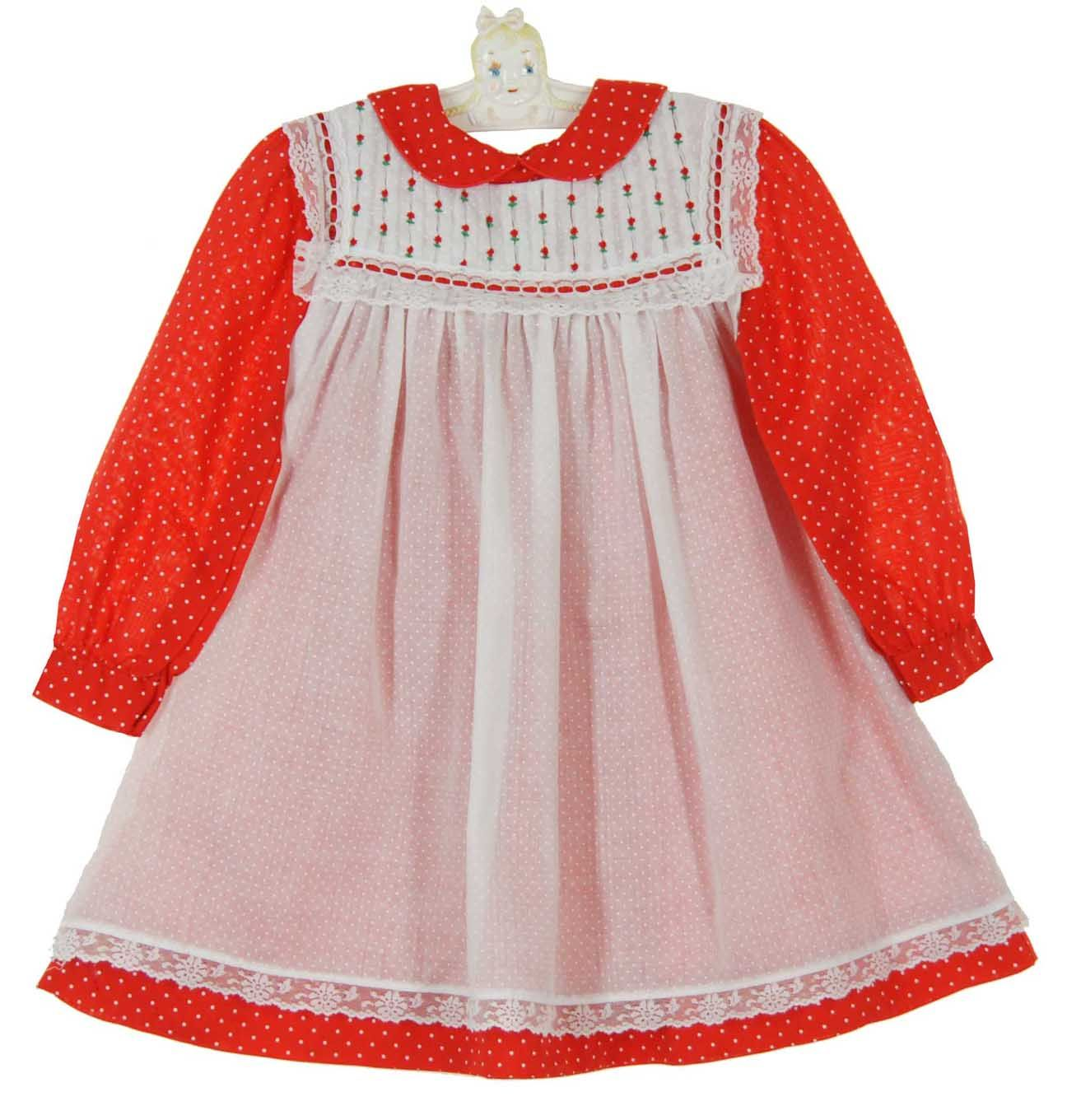 554b3b8f4a52 Polly Flinders Red Dotted Dress with White Lace Trimmed Pinafore $60.00  #PollyFlindersChristmasDress #PollyFlindersPinaforeDress