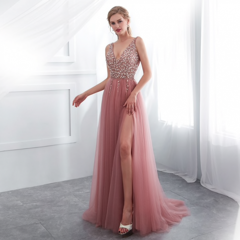 beading prom dresses 2019 v neck pink high split tulle sweep