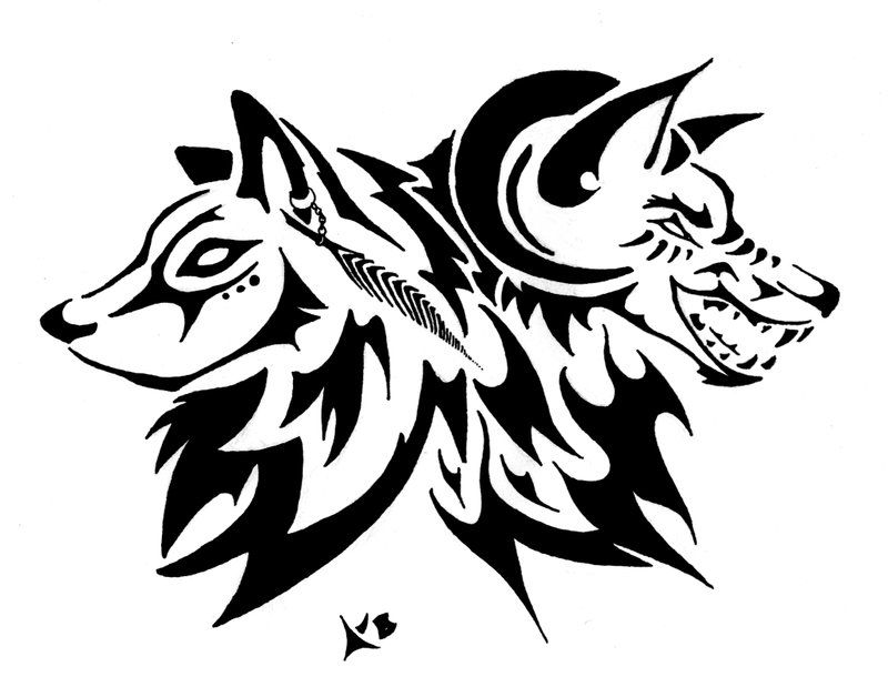 Lineart Wolf Tattoo : Good and evil by keira blacktalon on deviantart wolf
