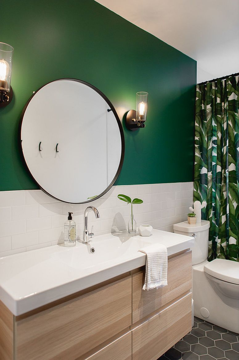 Dark Green Adds Tropical Touch To The Beach Style Bathroom Along With The Shower Curtain Green Bathroom Decor Green Bathroom Colors Green Bathroom