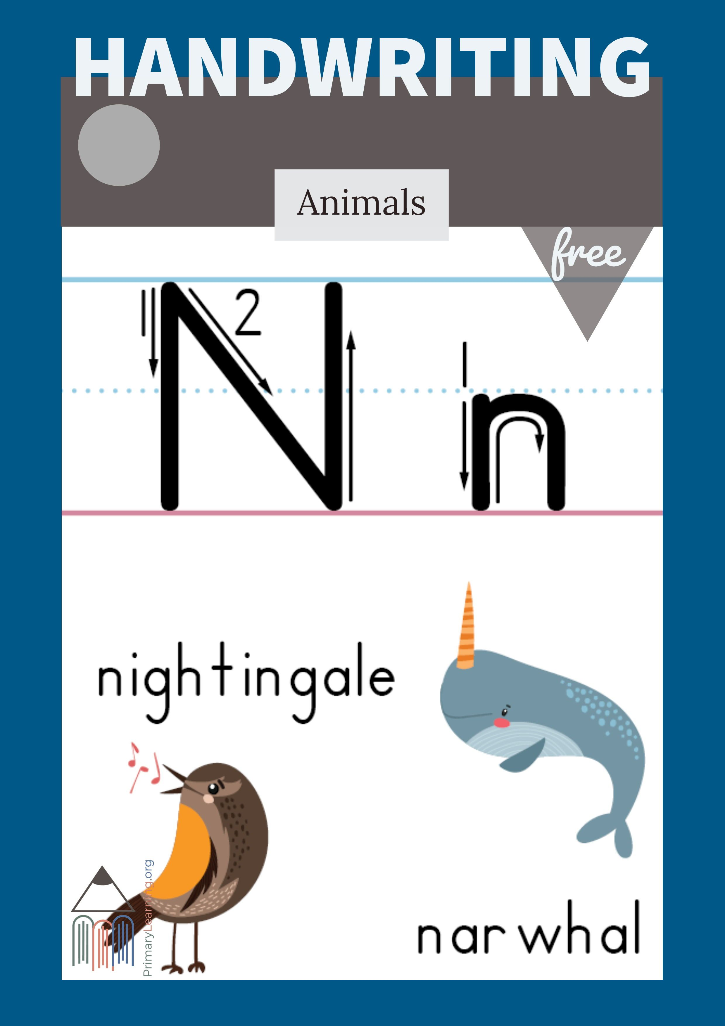 Letter N Printable Poster Primarylearning Org Kids Writing Free Homeschool Resources Teaching Homeschool
