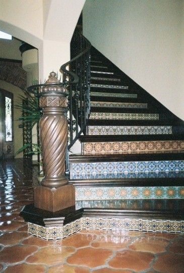 Mexican Tiles On Face Of Stairs
