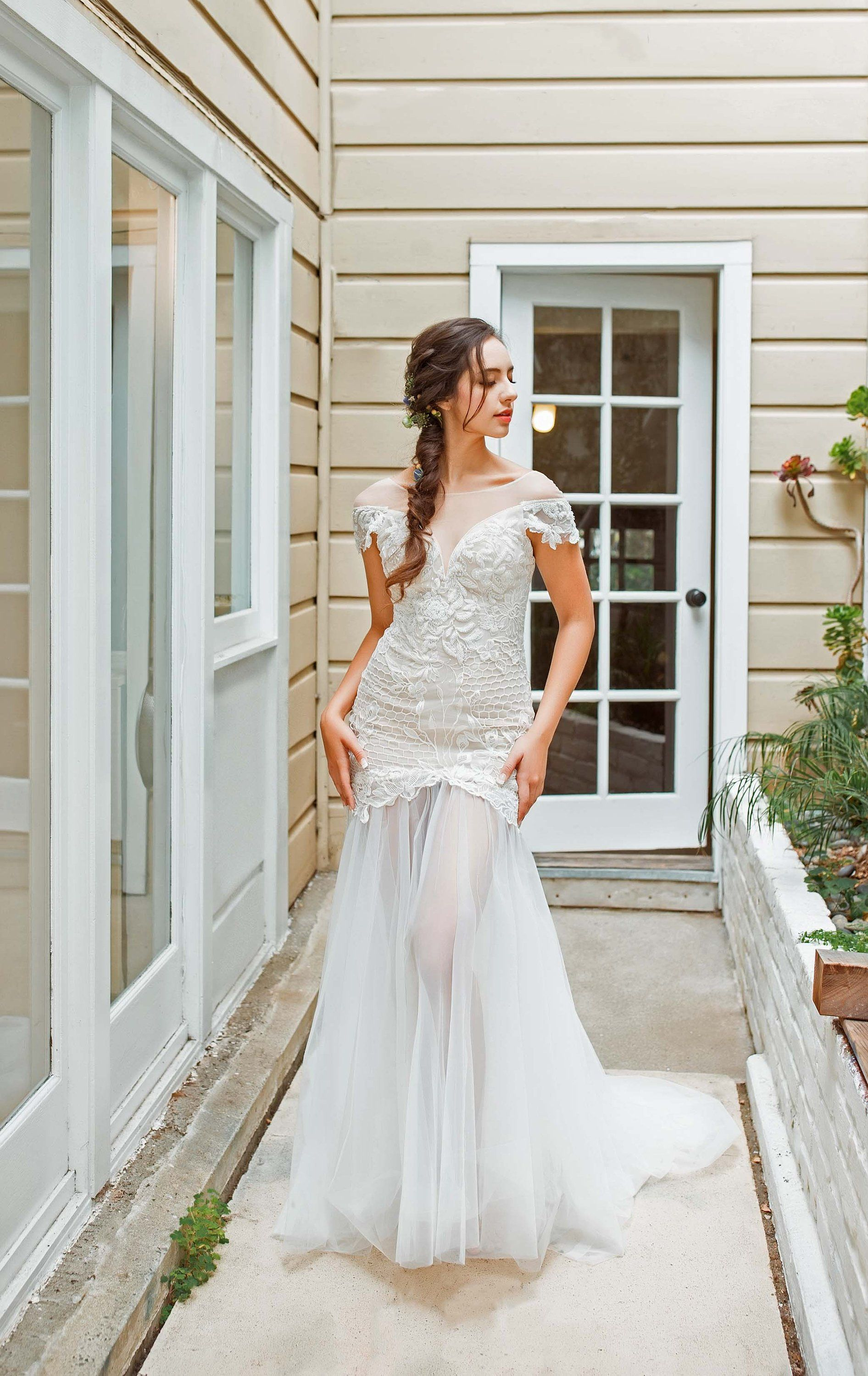 b07a7af2a605 Estela - Selena Huan off-the-shoulder crystal and pearl beaded Israel lace  illusive back light mermaid gown by SelenaHuanBridal on Etsy